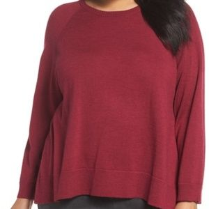 NWT! Eileen Fisher Round Neck L/S Sweater Red